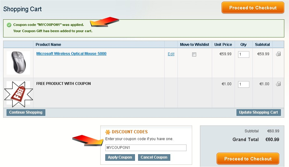 Use a Magento Coupon for a Free Gift - Coupon X Get Y Free