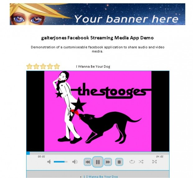 Facebook audio video media streaming application demo