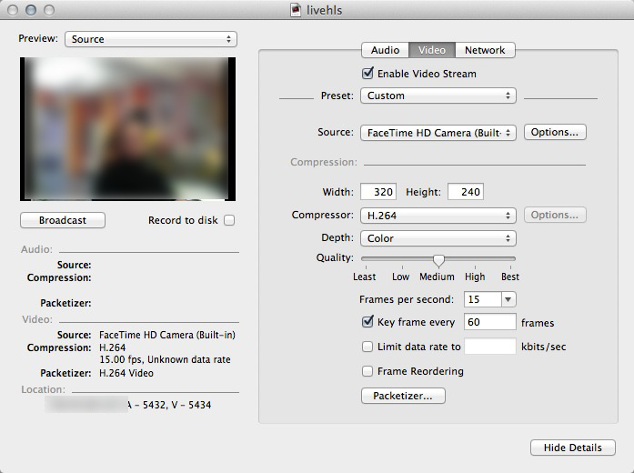 HTTP Live Streaming using Quicktime Broadcaster and FFMPEG