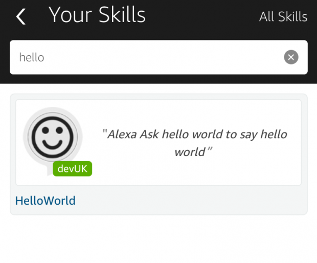 Select your skill in Alexa App